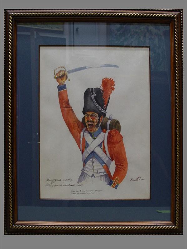 Власов, «Французский гренадер», бумага, акварель, 37×28см (в окне), конец XXвека