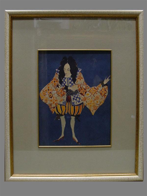 Антиквариат. М.Ульянов, эскиз костюма к театральной постановке, бумага, акварель.антикварная графика