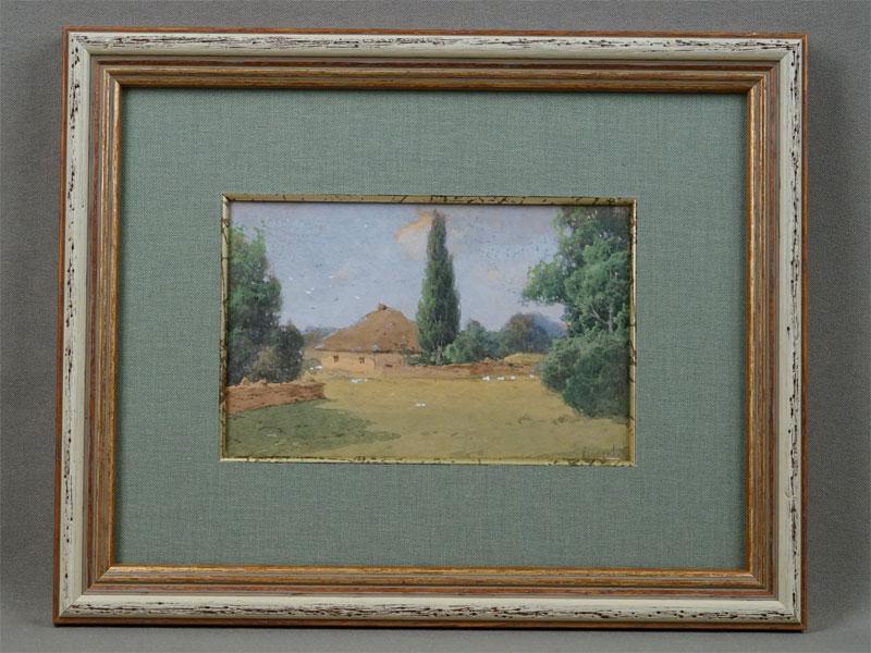 И.Крачковский, «Украинская хата», масло, бумага, 8×13см (в окне), подпись вправом нижнем углу.