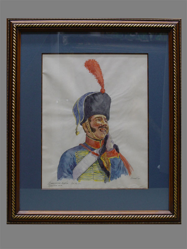 Антиквариат. Власов, «Французский трубач», бумага, акварель.антикварная графика