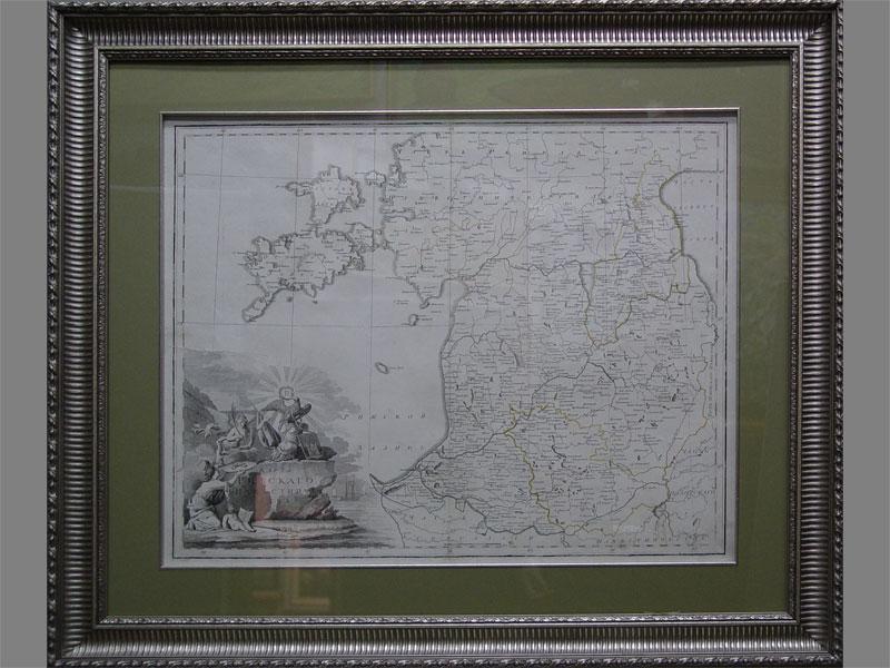 Карта «Рижское наместничество», бумага, гравюра. Россия, конец XVIIIвека, размер (вокне): 40×61см