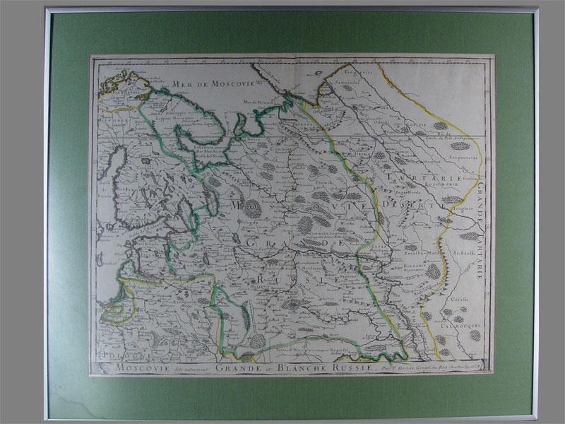 Карта Московской Руси, бумага, гравюра, вторая половина XVIIвека, размер (вокне): 40×51см