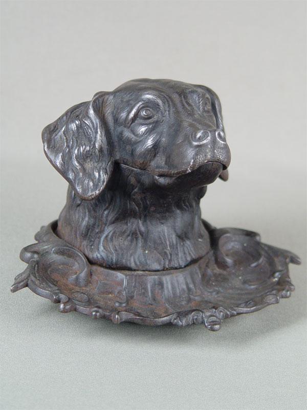 Чернильница «Голова сеттера», чугун, литье, покраска. Кусинский завод, 1897—1917гг, высота— 11см