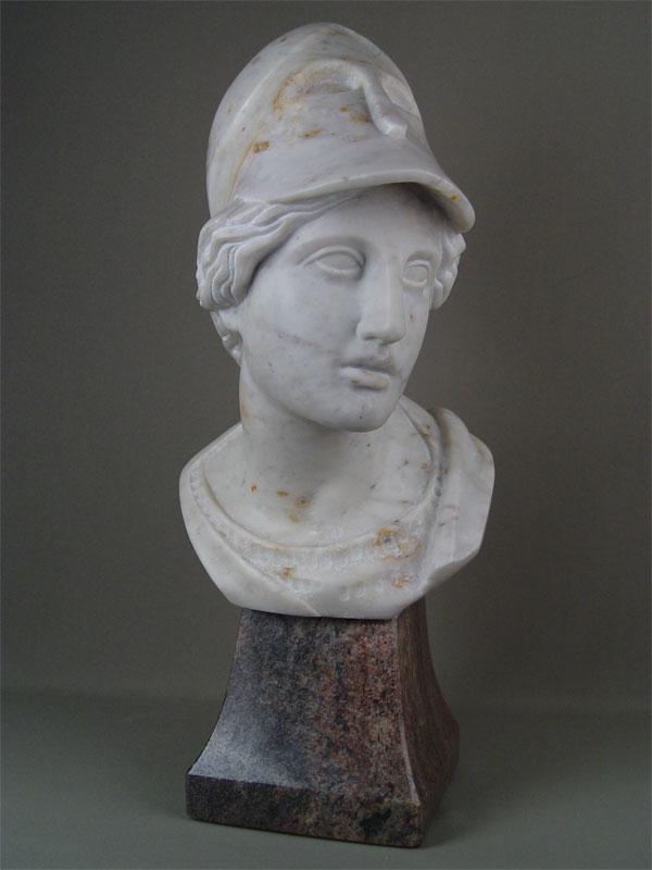 Антиквариат. «Афина Паллада», мрамор, резьба; основание гранитАнтикварная скульптура из мрамора