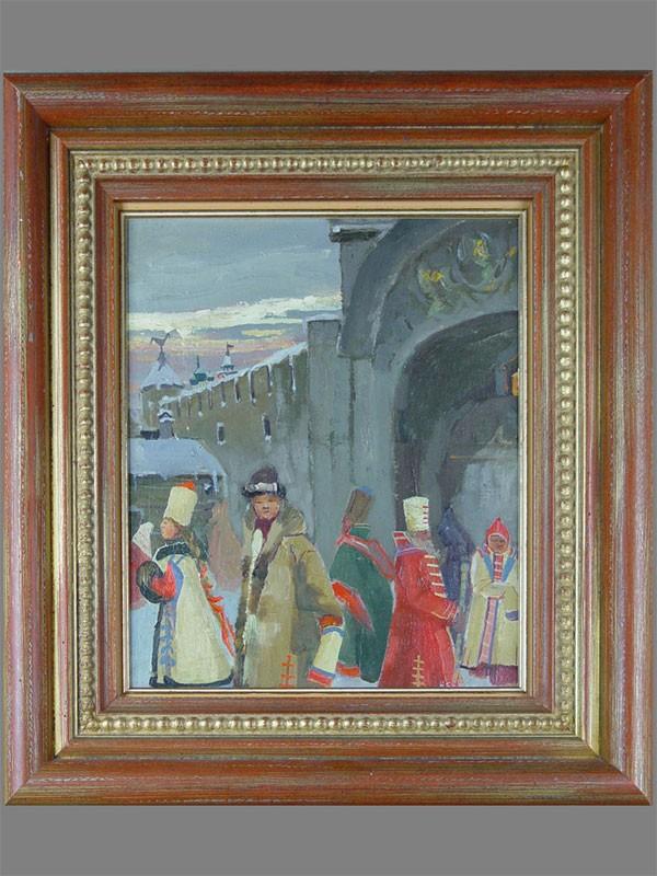 А.П.Рябушкин (1861—1904), «Уличная сцена», холст накартоне, масло. Россия, конец XIXвека, размер: 29,9×25см. <i></noscript>Атрибуция Государственной Третьяковской галереи</i>