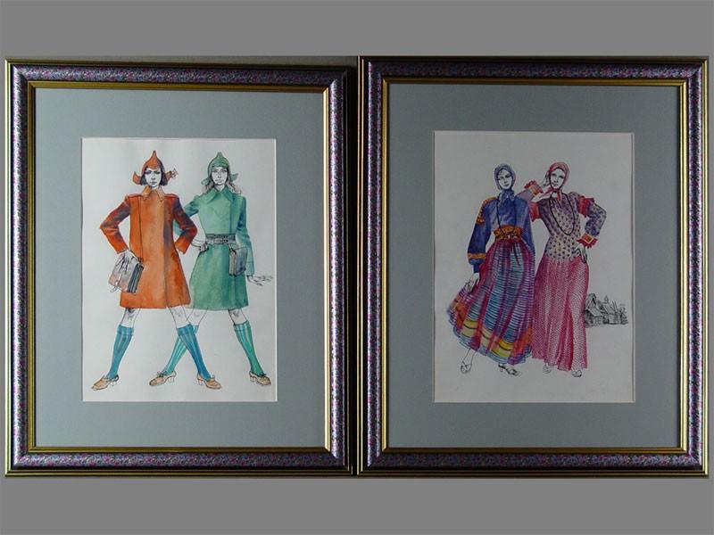 Е.Муханова, пара эскизов, бумага, тушь, акварель, 26×19см (в окне)