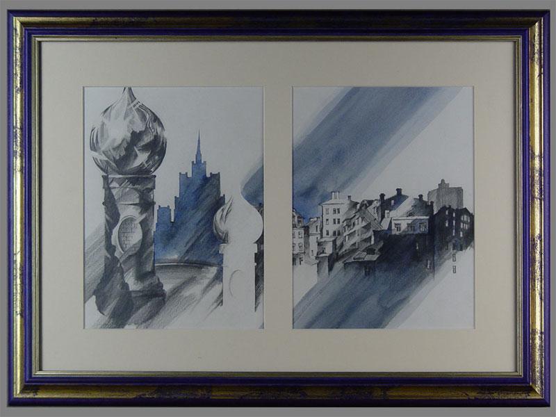 Антиквариат. Е.Муханова, диптих «Москва», бумага, карандаш, акварель