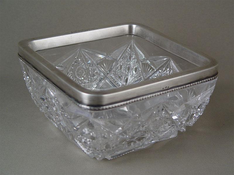 Конфетница, хрусталь, серебро 84пробы. Россия, начало XXвека,17×17см
