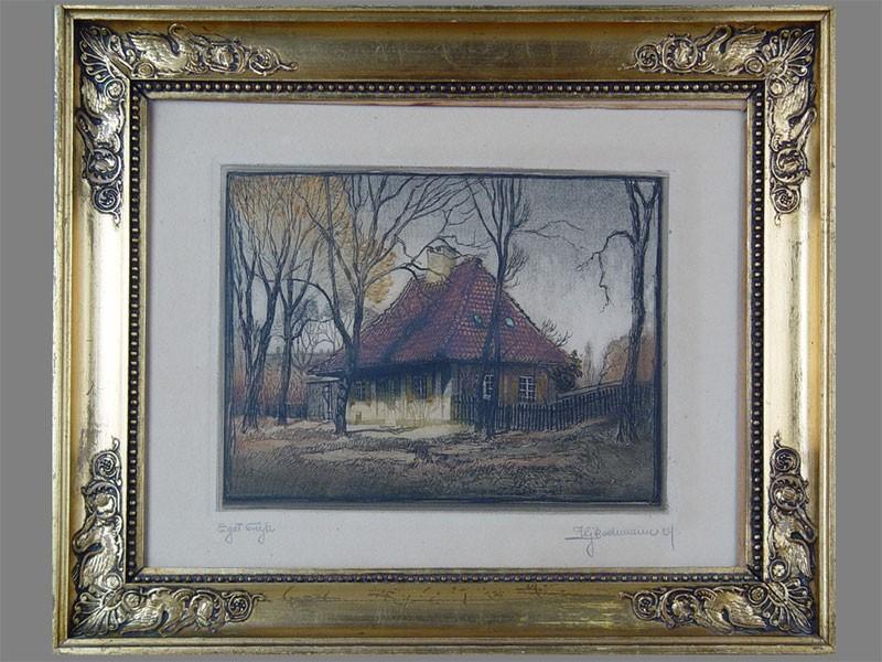 Гравюра «Сельский дом», бумага, офорт. Западная Европа, 1929год, размер (вокне): 15×21см