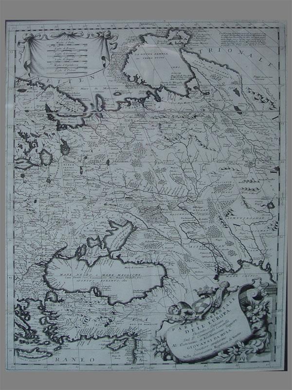 Антиквариат. Карта Европейской части России, бумага, гравюра, антиквариат