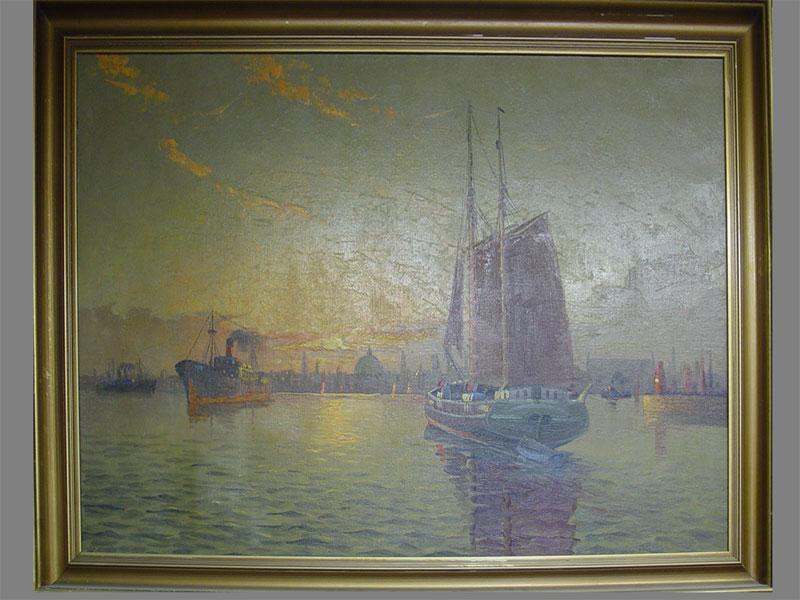 Неизвестный художник, «Морской пейзаж спарусником. Венецианская лагуна.» Холст, масло, 67×97см, 1930-е гг.