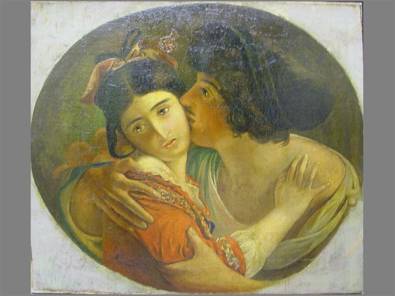 Моллер(?), «Влюбленные», холст, масло, 60×68см