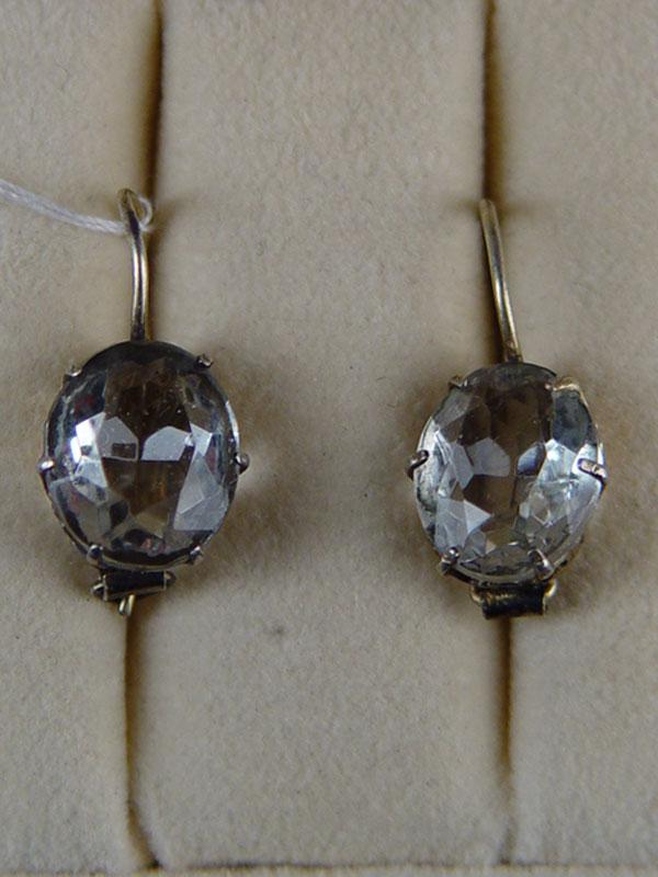 Серьги, серебро 875пробы, общий вес— 2,8г, стекло