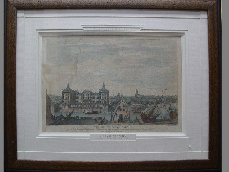 «Вид Санкт-Петербурга. Новый дворец», бумага, гравюра, размер: 23×34см