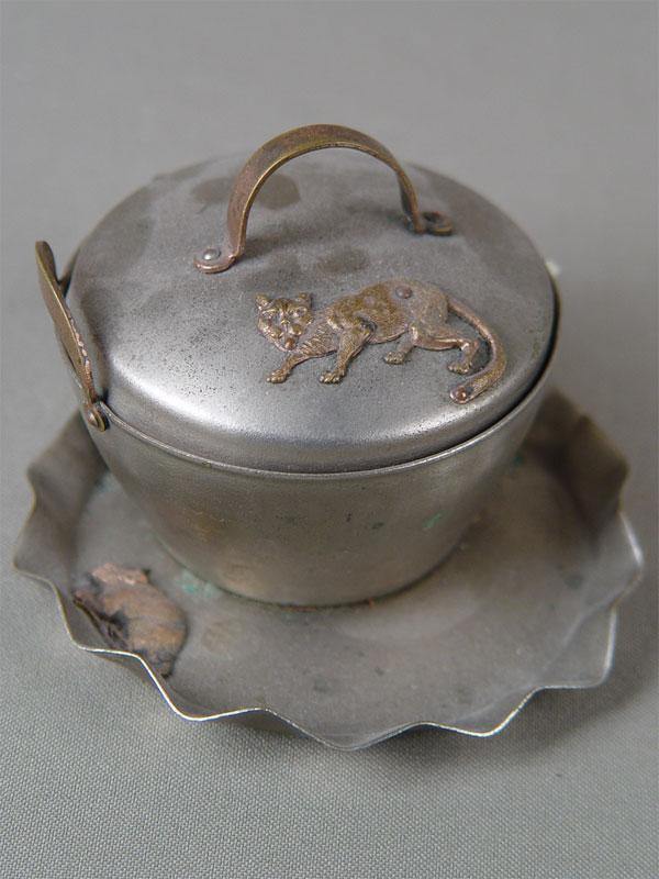 Вазочка скрышкой «Кошка имышка», металл, 9×9×7см
