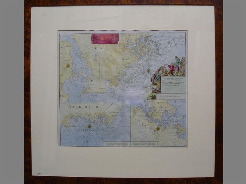 Антиквариат. Карта «Проливы балтийского моря», раскрашенная гравюра, старинная