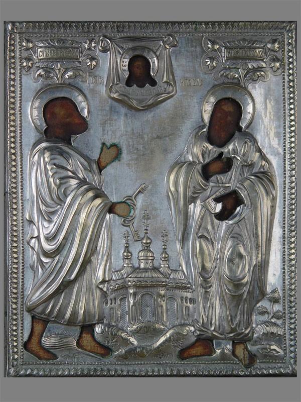 Икона «Святые Петр иПавел», оклад: латунь, посеребрение. Россия, размер: 27×22см