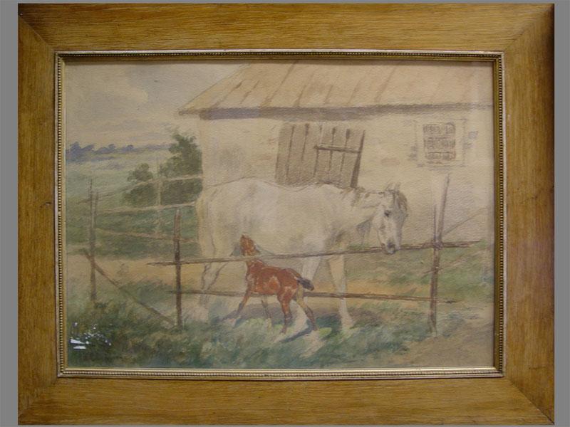 Антиквариат. «Лошадь и жеребенок», бумага, акварель