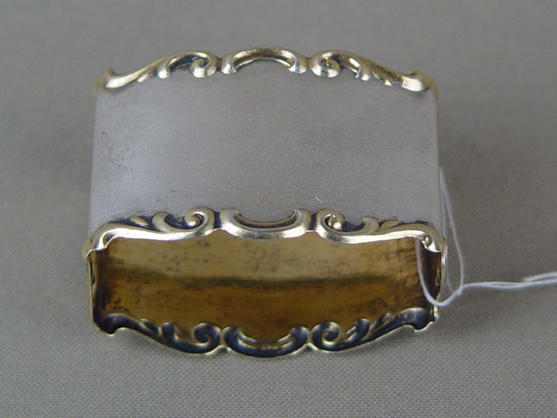 Кольцо длясалфетки, серебро 875пробы, позолота, общий вес— 17,5г