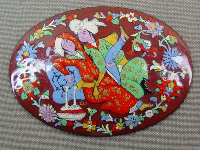 Плакетка, металл, эмаль, роспись, XIXв.,10×7см