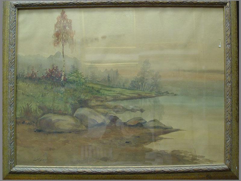 Антиквариат. Н.Прокофьев, «Березка на берегу озера», бумага, акварель