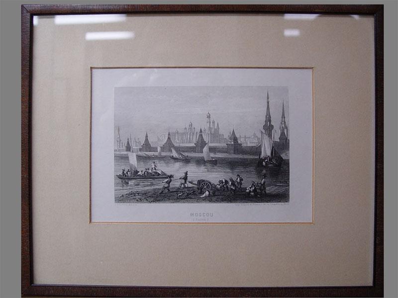 «Вид Москвы», бумага, гравюра, 19×13см (в окне), XIXв.