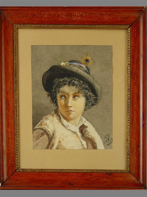 Антиквариат. Куликов А.Н. (1858-?), «Портрет мальчика», бумага, акварель