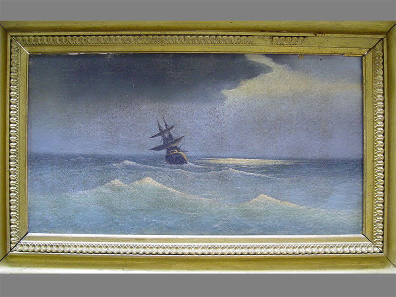 Неизвестный художник, «Морской пейзаж», холст, масло, начало XIXвека, размер: 29×54см