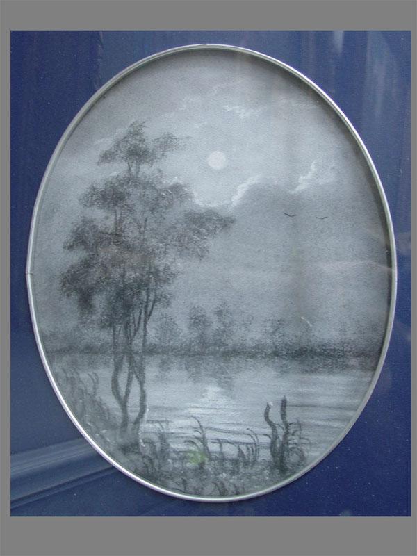 Неизвестный художник, «Ночь», бумага, карандаш, пастель, 34×27см (в окне)