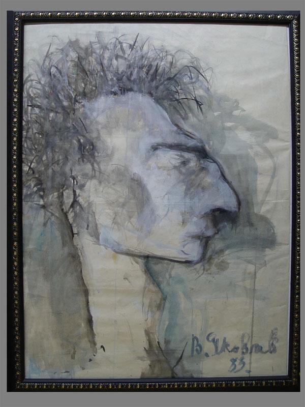 В.Яковлев, «Портрет», бумага, акварель, 1983г,80×60см