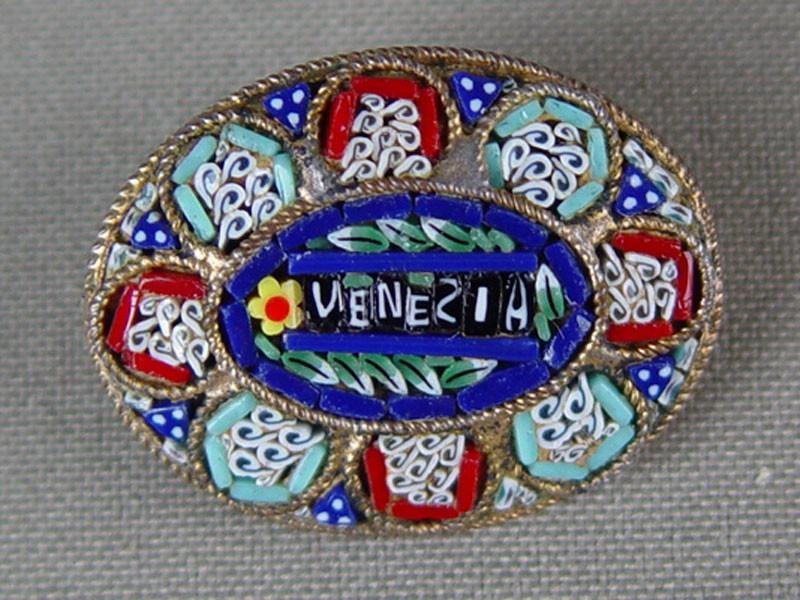Брошь, латунь, венецианская мозаика, 3×2,6см
