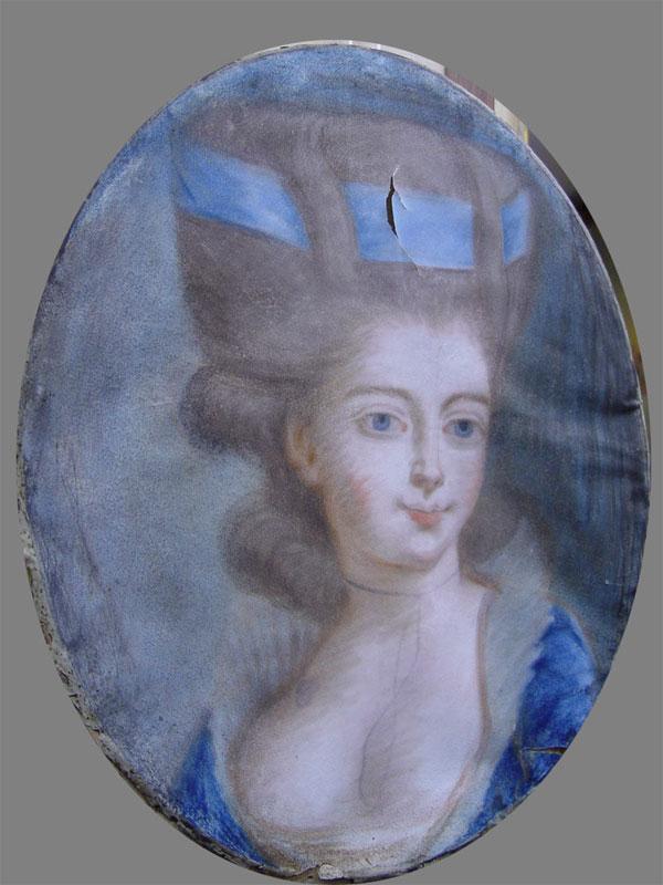 Неизвестный художник, «Женский портрет», бумага, пастель, 40,5×32см