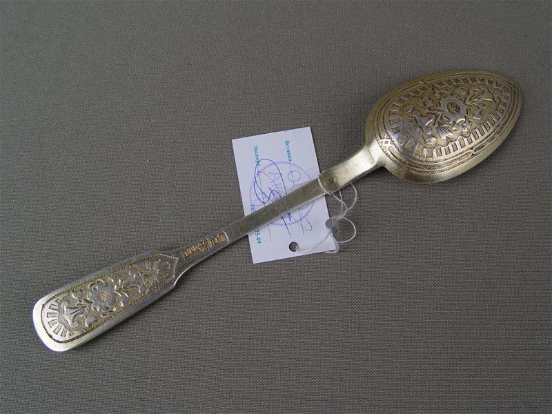 Ложка десертная, серебро 84пробы, гравировка, позолота, общий вес— 38,04г