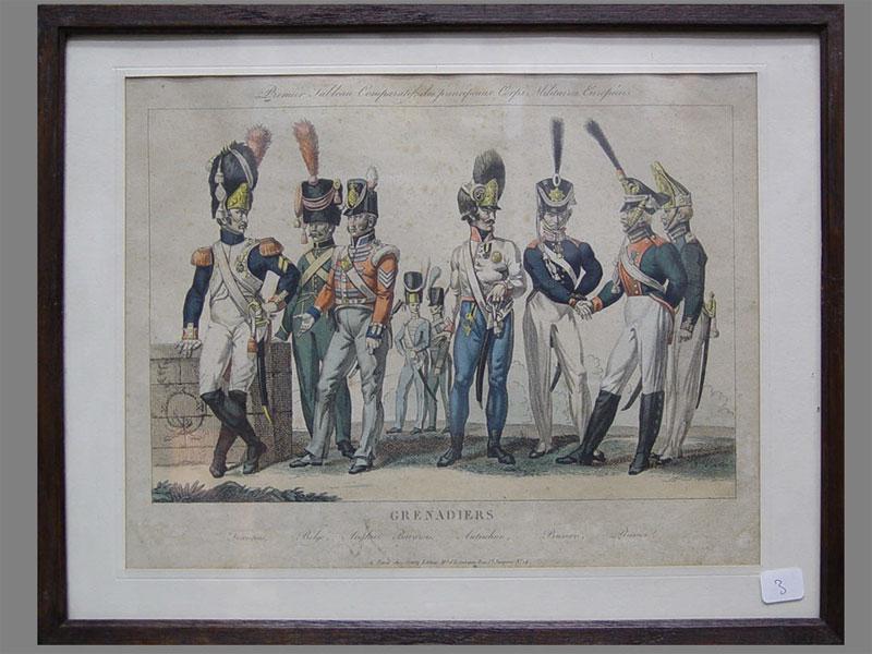 «Grenadiers», бумага, гравюра, XIXв., 25×32см (в окне)