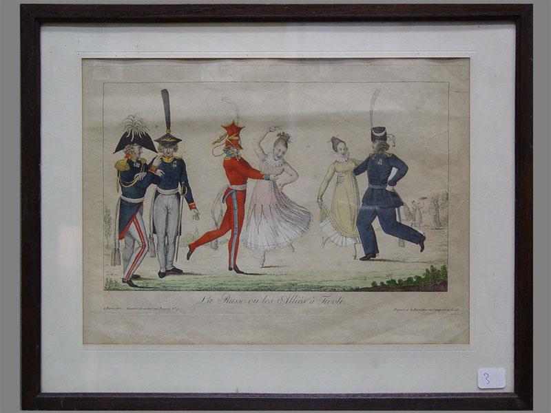 «La Russe…» (карикатура времен войны 1812года), бумага, гравюра, 23×31,5см (вокне). Париж, XIXв.