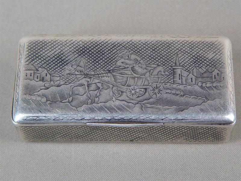 Табакерка, серебро 84пробы, чернь. Россия, XIXв., общий вес— 88,9г, 8,3×3,7×1,7см