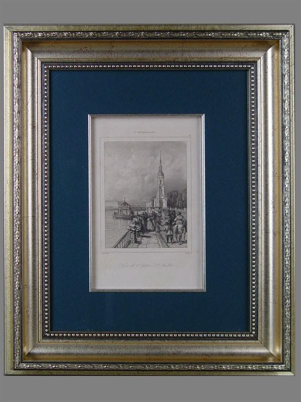 «Вид Санкт-Петербурга», бумага, гравюра, XIXв., 12×19см (в окне)
