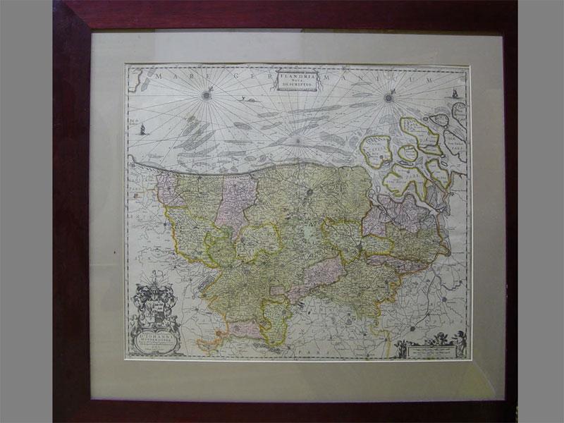 Антиквариат. карта, фландрия, бумага, гравюра, 19 век, география