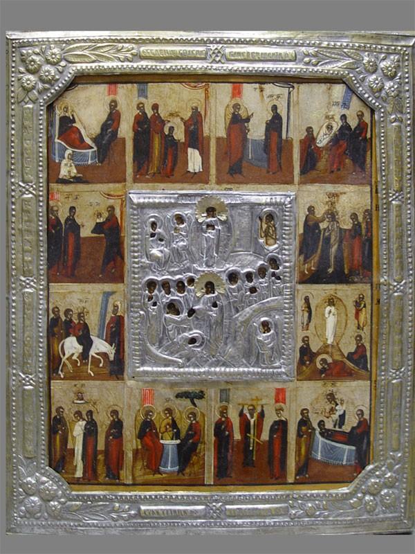 Икона «Праздники», дерево, левкас, темпера; басма: латунь, посеребрение. Россия, XIXвек, размер: 53×44,5см