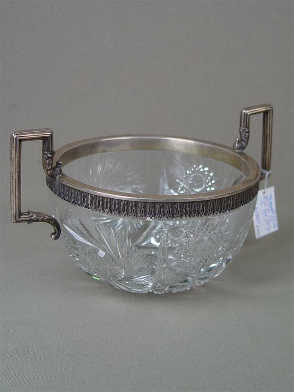 Ваза сручками, хрусталь, серебро 84пробы, клеймо «Черятов», диаметр— 16см