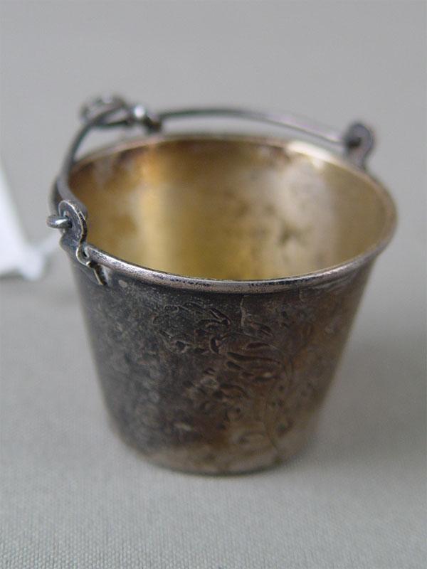 Ситечко длячая, серебро 875пробы, гравировка, середина XXвека, общий вес— 20,9г, высота— 3см