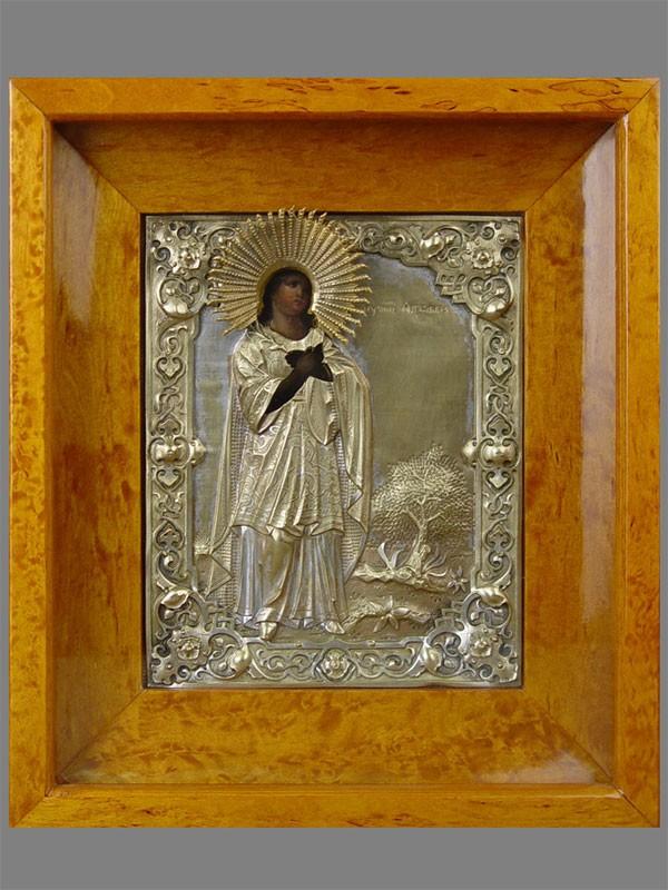 Икона «Святая Мученица Ангелина», дерево, левкас, темпера; оклад латунь, серебрение, киот. Россия, XIXвек, 22×18см