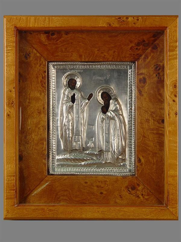 Икона «Явление Святого Николая Чудотворца Преподобному Геннадию», оклад— серебро 84пробы, размер:15×12см