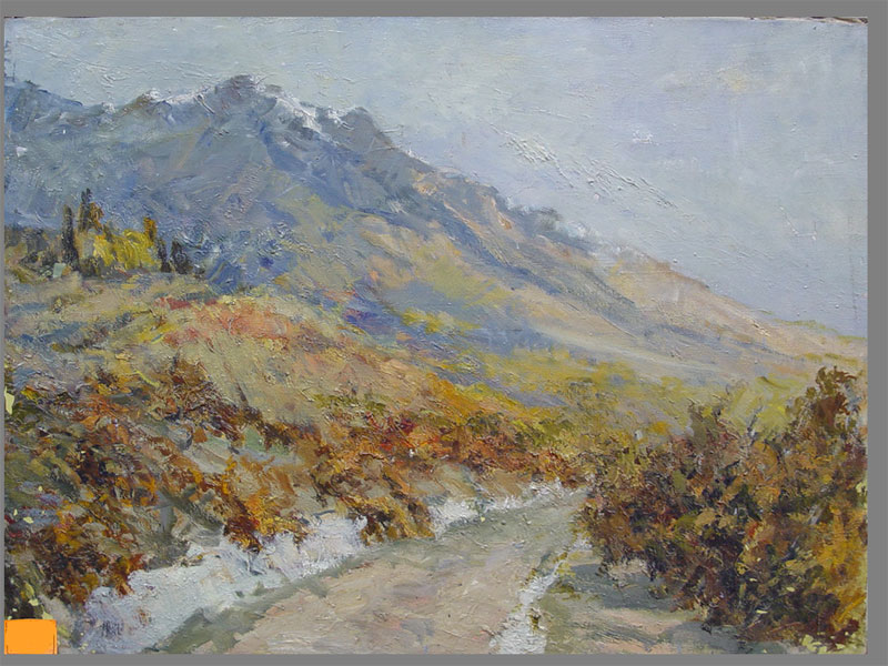 Фербер В.А., «Дорога вКрымских горах», холст, масло, 50×75см