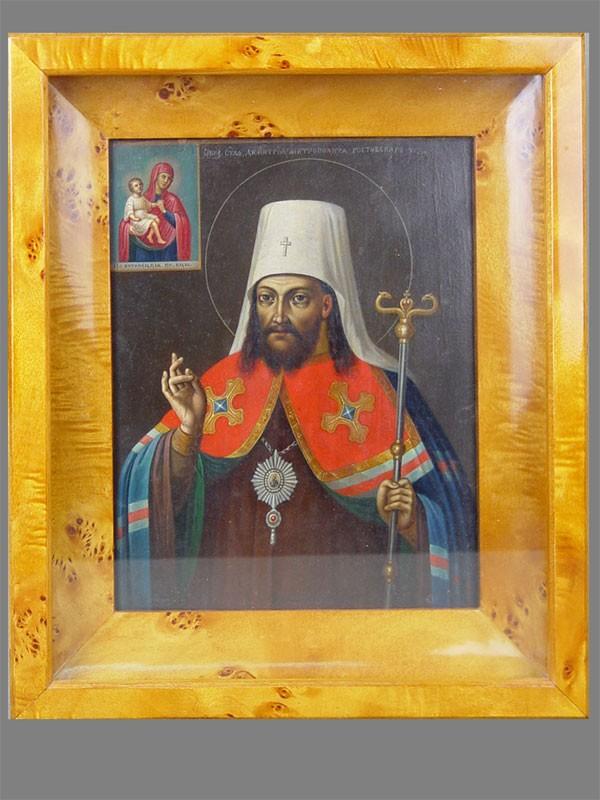 Икона вкиоте «Святой Димитрий Ростовский», дерево, левкас, темпера, размер иконы: 26×20см
