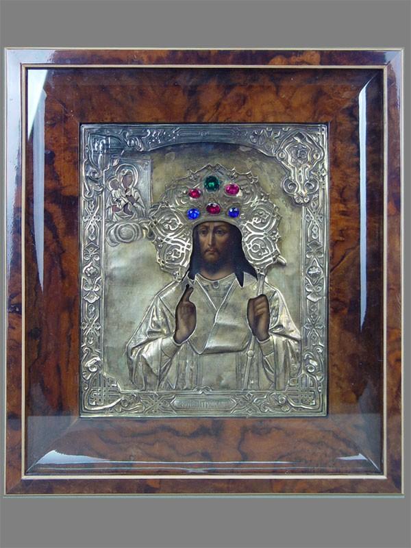 Икона вкиоте «Святой Димитрий Ростовский», оклад серебро 84пробы, золочение, XIXвек, 30×25см