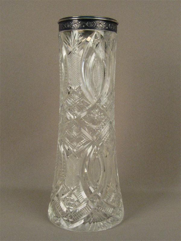 Ваза, стекло, серебро 875пробы, середина XXвека, высота— 28см