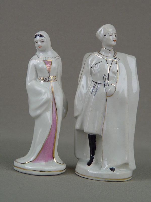 Пара фигур «Грузин игрузинка», фарфор, роспист надглазурная, высота— 17см