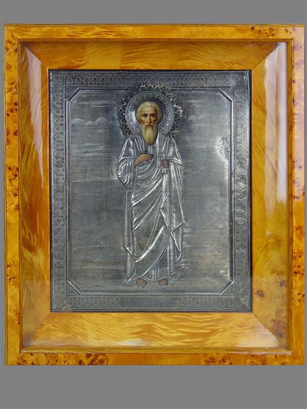 Икона вкиоте «Святой Илия Пророк», дерево, левкас, темпера; оклад— серебро 84пробы; размер иконы: 27×22см