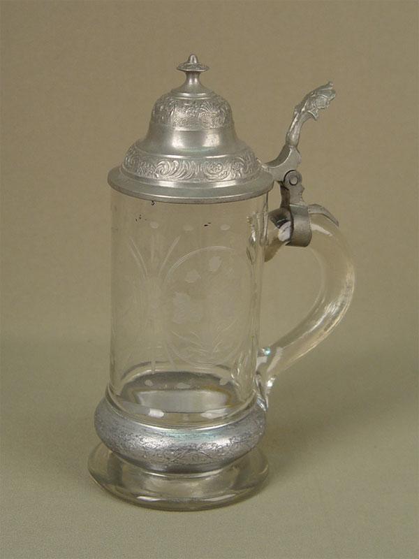 Кружка пивная, стекло, олово, начало XXвека, высота— 22см